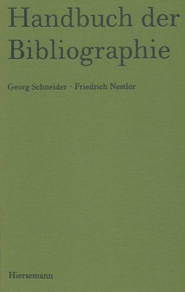 Handbuch Bibliographie Schneider Nestler
