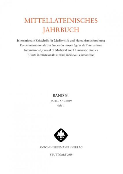 Mittellateinisches Jahrbuch Band 54 Heft 1