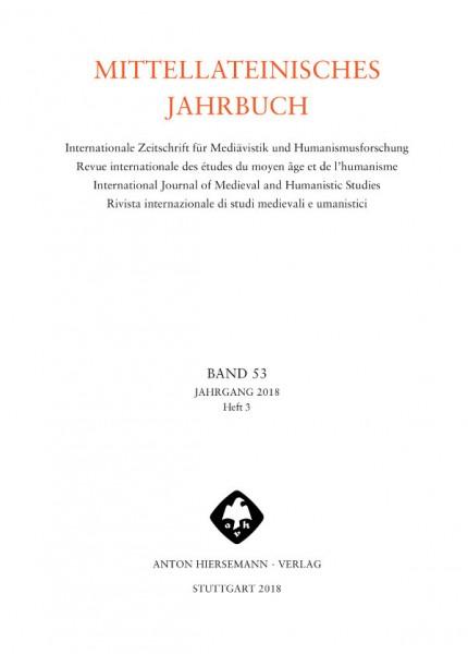 Mittellateinisches Jahrbuch Band 53 Heft 3