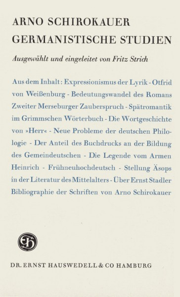 Arno Schirokauer Germanistische Studien