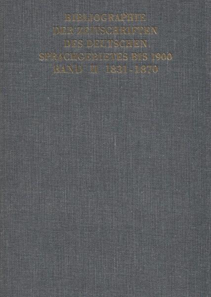 Joachim Kirchner, Bibliographie der Zeitschriften des deutschen Sprachgebietes bis 1900